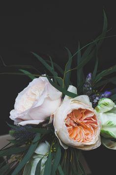 Juliet Garden Roses, Ivory Garden Roses, Parrot Tulips, Thistle, Lavender, Willow Eucalyptus.