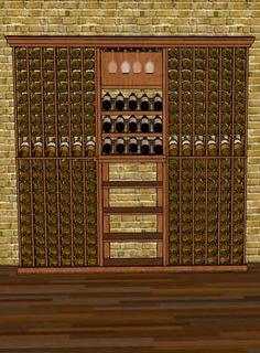 "Our seven foot combo 2 from WineRacks.com.    Dimensions: 6' 6 13/16"" wide x 78"" high x 12 3/8""  Capacity: 289 Bottles  Available in: Mahogany, Oak & Pine    This combo is designed to fit within 7 feet of space. It features individual bottle racking, stacked display cabinets, compound diamond bin, butcher block tasting table and Chateau arch."