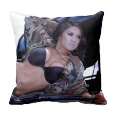 Army Girl in Camo and Armed. Throw Pillows #sexy #soldier #military #bikini #lingerie #mancave