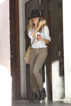 white shirt--modify the outfit with bootcut brown jeans & a wide belt--add a scarf to the purse for color.