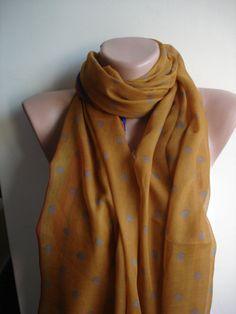 Ladies Pastel Yellow White Polka Dot Scarf Sarong Shawl Lightweight Rectangle