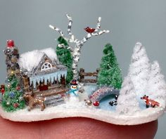 OOAK Miniature Dollhouse Christmas Putz Winter Wonderland Tiny Cabin House Scene   eBay