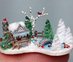 OOAK Miniature Dollhouse Christmas Putz Winter Wonderland Tiny Cabin House Scene | eBay