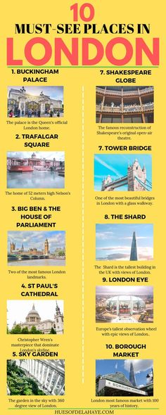 10 of the famous landmarks in London that you have to visit. These are must see places in London and should be high on your London bucket list London Landmarks, Famous Landmarks, Famous Monuments, European Destination, European Travel, London Bucket List, Cool Places To Visit, Places To Travel, Big Ben