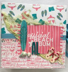 Moira's Summer Mini Album is simply breathtaking! Beach Tan, Tan Lines, Pattern Paper, Scrapbook Paper, Album Covers, Christmas Ornaments, Holiday Decor, Lady, Mini Albums