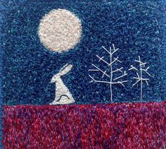 HareMoon and Trees embroidered artworkstitched by ImagineNorth
