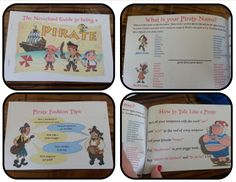 I got the idea for this Activity Book from Disney's Party planning site at: http://disney.go.com/disneyjunior/crafts/printables/jake-and-the-never-land-activity-book-1824964  Since the printable version prints out on full 8&1/2 x 11 pages, I retyped and re-sized everything to fit on 5&1/2 x 8&1/2 size pages and printed front and back to minimize paper waste, then I stapled the pages together.  The kids AND the adults loved this!