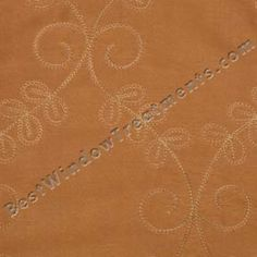 Pumpkin/Copper curtains with scroll embroidery- Novara Curtains from BestWindowTreatments.com