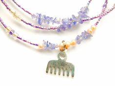 Ghanian Waist Beads, Tanzanite Adinkra High Vibration Waist Beads, Lavender Duafe Waist Beads, Tanzanite Waist Beads, Spiritual Belly Chain by WrapandSoul on Etsy