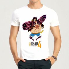 Mens Japan Hot Anime One Piece Luffy Gear 4 Printing T-shirt Luffy Gear 4 Top Tees Shirt One Piece Luffy, One Piece Anime, Luffy Gear 4, Hot Anime, Otaku, Tee Shirts, Printing, Geek, Bts