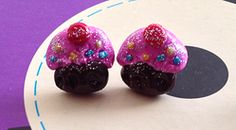 Pink glitter cupcake stud earrings $8.00
