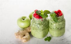Download wallpapers Smoothies, healthy food, apples, mint, ginger, apple green smoothies, diet concepts
