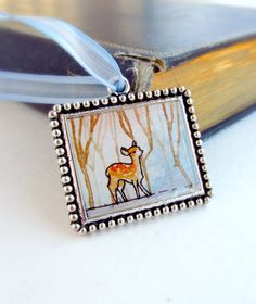 Woodland Christmas Ornament  Winter Deer  by SarahLambertCook, $12.00