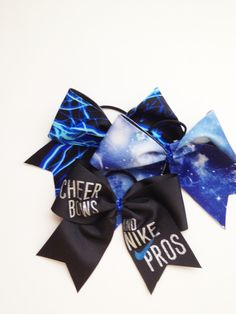 Blue Bows Cheer Bows & Nike Pros, Galaxy & Lightning all from Just Cheer Bows www.justcheerbows.com #nikepros