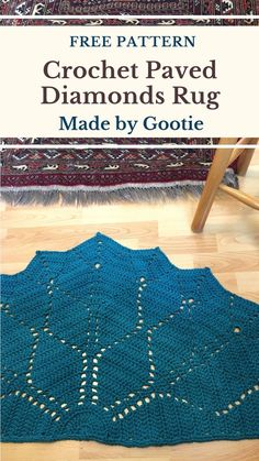 This rug is a half circle version of my Diamonds Doily crochet pattern. It's a quick and fun weekend project. This rug is a great project for beginners, but also experienced crocheters will enjoy it. It is worked with 2 strands held together, to create a thick fabric. The rug will be lovely at the bottom of your bed, as an indoor entry mat, or in the shower as a bathroom mat. #freecrochetrugpattern #crochetmatpattern #crochetfiletfreepattern #halfcircledoilypattern