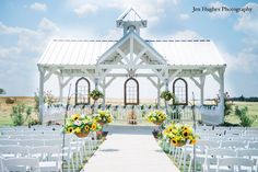 Beautifully decorated Sunflower wedding at Willow Creek's White Chapel Gazebo. Photograph by Jen Hughes Photography Florida Wedding Venues, Rustic Wedding Venues, Chapel Wedding, Tree Wedding, Farm Wedding, Wedding Chapels, Wedding White, Wedding Ideas, Outdoor Ceremony