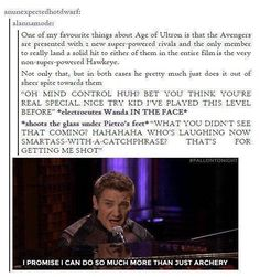 Hawkeye is the best, I love his sass