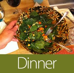 *May 6th 2013 - W13D6 - Dinner - Vegan salad: romaine spinach couscous salad with grape tomatoes, raisins, white beans, cucumbers, chickpeas, carrots, sunflower seeds, and served with a cucumber mint vinaigrette.
