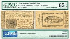 Trusted Traditions, Inc. has this item on Collectors Corner - New Jersey 1763 12 Schillings Colonial Currency PMG 65 EPQ Gem Uncirculated