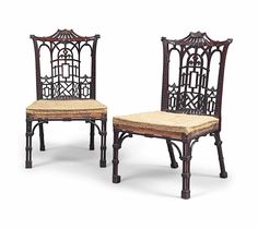 A pair of early George III 'Chinese Chippendale' mahogany side chairs, circa 1760