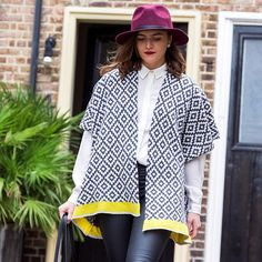 Geometric knitted monochrome cardigan, handmade knitted in England, stylish fashion accessorie