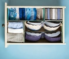 Organize your underwear drawer into sections by using pieces of a cut (thick) shoe box! Organization Station, Closet Organization, Ideas Para Organizar, Tumblr Rooms, Relaxation Room, Organize Your Life, Diy Projects To Try, Space Saving, Shoe Rack
