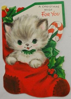 16 Vintage Christmas Cards With Kittens That Will Get You Into The Holiday Spirit