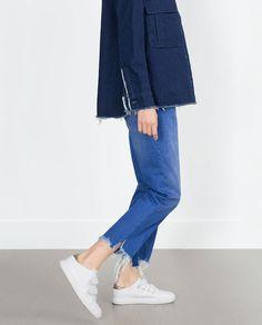 zara trf f/w 2015 Fashion D, Minimal Fashion, Denim Fashion, Urban Fashion, Fashion Looks, Casual Street Style, Vintage Jeans, Zara, Long Denim Shirt
