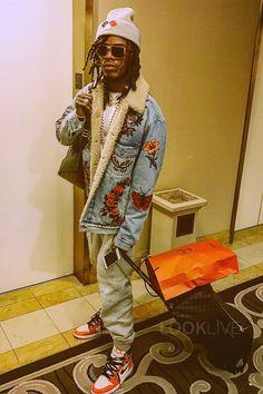 Fetty Wap wearing  Gucci Embroidered Denim Jacket, Nike Air Jordan 1 Retro Shattered Backboard