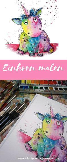 Einhorn malen Anleitung ganz einfach: Lerne wie du ein buntes und fröhliches Einhorn malst - auch als Anfänger! Ich zeige dir, wie dieses lustige Einhorn entstanden ist - Schritt für Schritt mit Aquarell.
