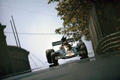 Emerson Fittipaldi in his Lotus 72 during the 1973 Spanish Grand Prix