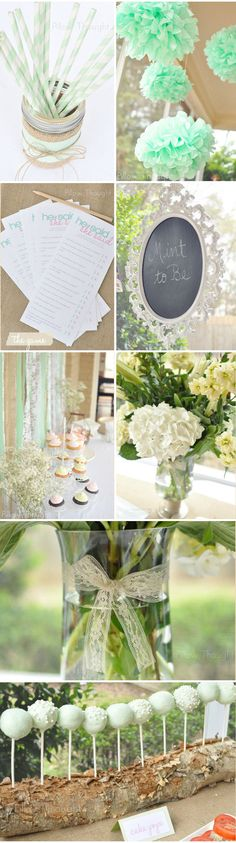 Mint bridal shower!. MINT to be! LOVE! Mint and champagne. Antique look with lace and pearls. :) ... and or.. Mint chocolate! Love the log that holds the cake pops.