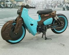 I genuinely am into everything that they did to this modified Custom Motorcycles, Custom Bikes, Cars And Motorcycles, Honda Cub, Motocross, Honda Bikes, Old Bicycle, Bike Art, Mini Bike