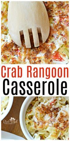 Easy, cheesy, Crab Rangoon Casserole is a HUGE hit with comfort foodies who love crab rangoon! It's also a great weeknight dinner recipe for busy families who need comfort food in a hurry!