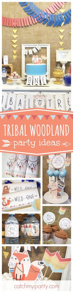 Check out this fantastic Tribal Woodland boy's birthday party! The party decorations are adorable!! See more party ideas and share yours at CatchMyParty.com