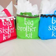 New Baby Big Sibling Kits Help older siblings feel special when they come to the hospital by surprising them with their own big brother or sister goodie bags.  These ones includes new t-shirts, snacks, and activities to keep them busy while visiting.  Laurel used freezer paper stenciling for the cute canvas bags.