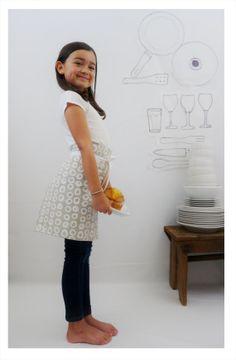 KIDS LINEN APRON  hand screen printed linen  by CelinaMancurti, $20.00