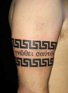 Tribal Armband Tattoo, Armband Tattoos For Men, Armband Tattoo Design, Tattoos For Guys, Tribal Tattoos, Altgriechisches Tattoo, Tattoo Motive, Greek Symbol Tattoo, Symbol Tattoos