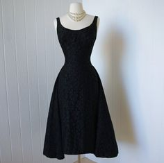 vintage 1950s dress  dramatic designer couture SUZY by traven7