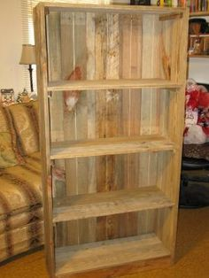 Reclaimed Wood Bookshelves Pallet Bookcase Rustic Bookcase Shabby Chic Bookcase by Dora P