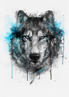 prints on metal Animals wolf splash watercolors digital illustration winter black blue Wolf Tattoo Design, Tattoo Designs, Geometric Watercolor Tattoo, Tattoo Abstract, Geometric Tattoos, Motifs Animal, Beautiful Wolves, Poster Prints, Art Prints