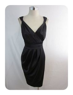 New London Times Black Stretch Satin Empire Tulip Skirt Dress 10 $90 | eBay