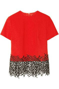 Christopher Kane|Lace-trimmed wool-crepe top|NET-A-PORTER.COM