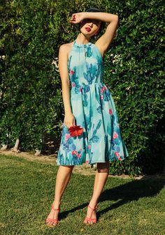 The Blogger the Better Dress by ModCloth - Multi, Green, Other Print, Vintage Inspired, 50s, Halter, Summer, Woven, Best, Exclusives, Private Label, Halter, Mid-length, Wedding, SF Fit Shop, Special Occasion, Daytime Party, Beach/Resort, Wedding Guest