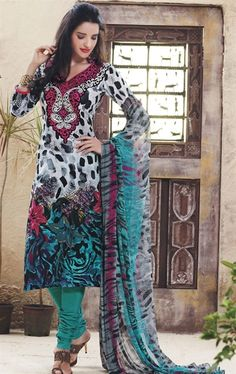 Picture of Lovely Black and Off White Casual Salwar Kameez