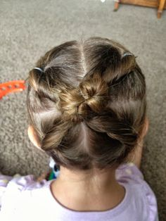 """Hot Cross"" Bun.  A cute, quick and easy hairstyle for little girls!"