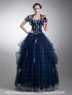 masquerade dresses | Tulle Modest Masquerade Ball Gown Navy Blue Quinceanera Dress ...