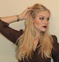 Great daytime dark lipstick look for blonde hair/brown eyes Brown Eyes Blonde Hair, Dark Hair, Beauty Makeup, Hair Makeup, Hair Beauty, Make Up Yeux, Tom Ford Black Orchid, Lipstick Tutorial, Lip Tutorial