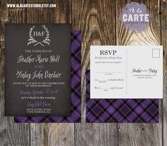Chalkboard and Purple Plaid  Wedding Invitation Set - Scottish Wedding - Invitation and RSVP. $30.00, via Etsy.