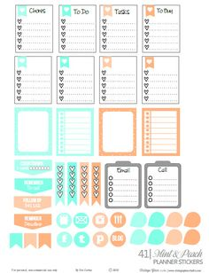 Free printable of a set of planner stickers in mint and peach. Suitable for Erin Condren planners and other vertical weekly planners. For personal use only.